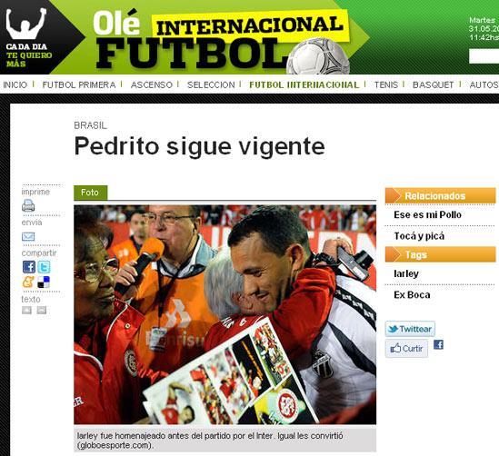 Jornal Olé destaca gol de Iarley sobre o Inter Reprodução, ole.com.ar/