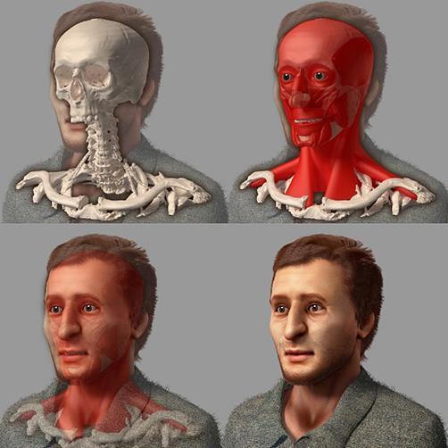 Com ajuda de programa de computador, esqueleto do Museu da História da Medicina tem a face reconstituída  Reprodução/