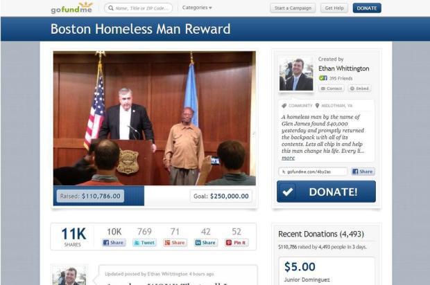 Sem-teto devolve mochila com US$ 42 mil e recebe US$ 100 mil em doações