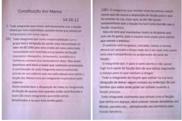 """MP revela detalhes do """"estatuto"""" da facção Os Manos Reprodução/Ministério Público RS"""