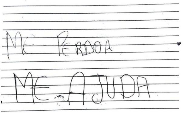 """""""Eu pedi a Deus coragem"""", diz menina em carta que denuncia pai por estupro Divulgação / Polícia Civil/Polícia Civil"""