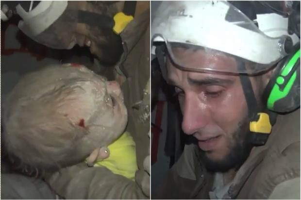 Vídeo emocionante mostra choro de socorrista que salvou bebê na Síria Reprodução / vídeo/vídeo