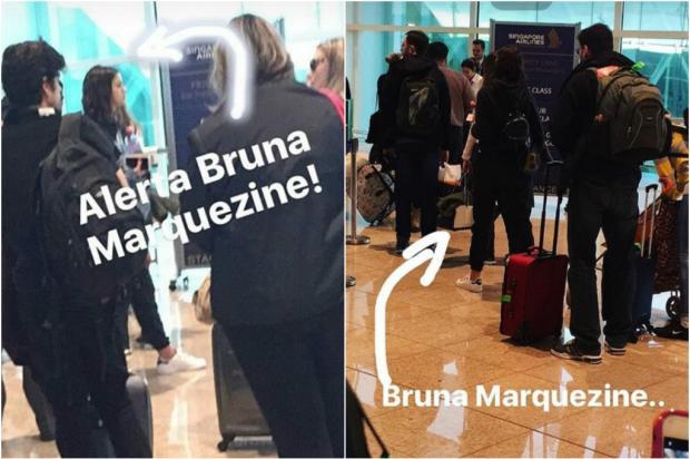 Bruna Marquezine é fotografada embarcando em voo depois de passar 10 dias com Neymar na Espanha Snapchat / Reprodução/Reprodução