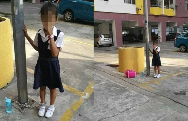 Mãe acorrenta filha de oito anos a poste após a menina se recusar a ir à escola Reprodução / Facebook/Facebook