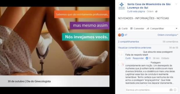 Página com nome de hospital gaúcho faz postagem polêmica e instituição nega autoria Facebook / Reprodução/Reprodução