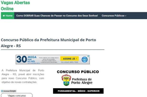 Chamada para novo concurso da prefeitura de Porto Alegre não é verdadeira Internet/Reprodução