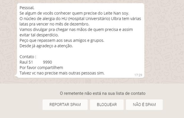 Boato ou verdade: mensagem de WhatsApp diz que hospital da Ulbra oferece leite Nan de graça Reprodução / WhatsApp/WhatsApp