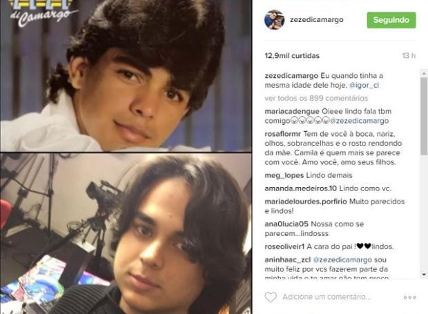 Zezé Di Camargo posta foto de quando tinha 22 anos e mostra semelhança com filho caçula Reprodução / Instagram/Instagram