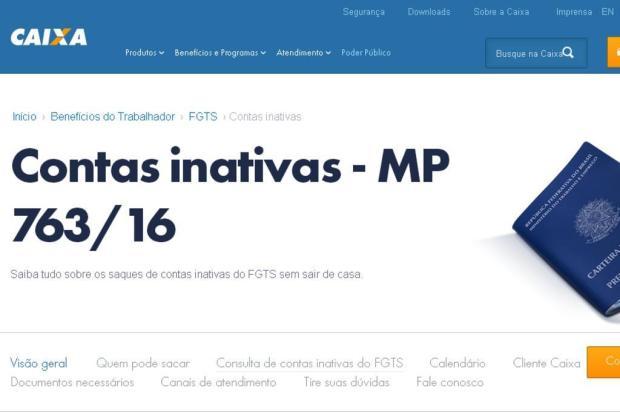 Caixa divulga site para consultar contas inativas do FGTS Reprodução/Internet