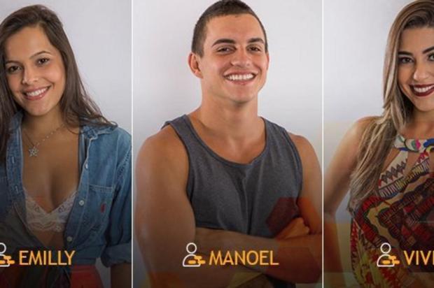 Paredão triplo tem Manoel, Emilly e Vivian Reprodução/TV Globo/Divulgação