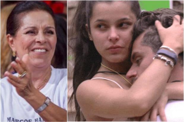 """Mãe do BBB Marcos desaprova caso do filho com Emilly: """"menina mal educada"""" Montagem sobre imagens de GShow e TV Globo/"""