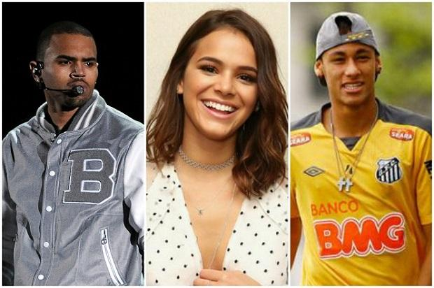 Chris Brown segue Bruna Marquezine no Instagram, e Neymar provoca o cantor /