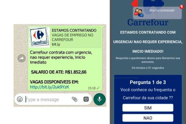 Carrefour oferece emprego com salário de até R$ 1.852 por WhatsApp? É falso WhatsApp/WhatsApp