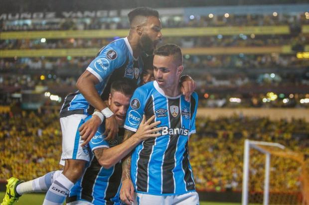 """Cacalo: """"Comemora, torcedor"""" Lucas Uebel/Grêmio/Divulgação"""