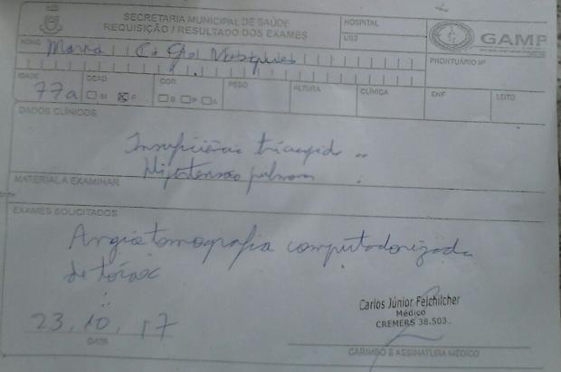 Idosa espera por exames desde outubro do ano passado, em Canoas Arquivo Pessoal / Leitor/DG/Leitor/DG