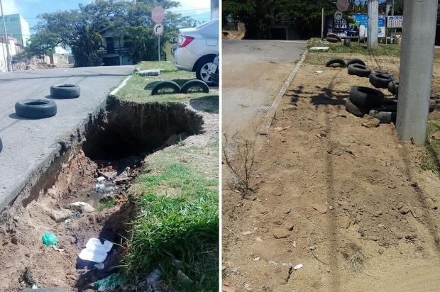 Depois de sete meses, prefeitura faz conserto de buraco em Viamão Arquivo Pessoal / Leitor/DG/Leitor/DG