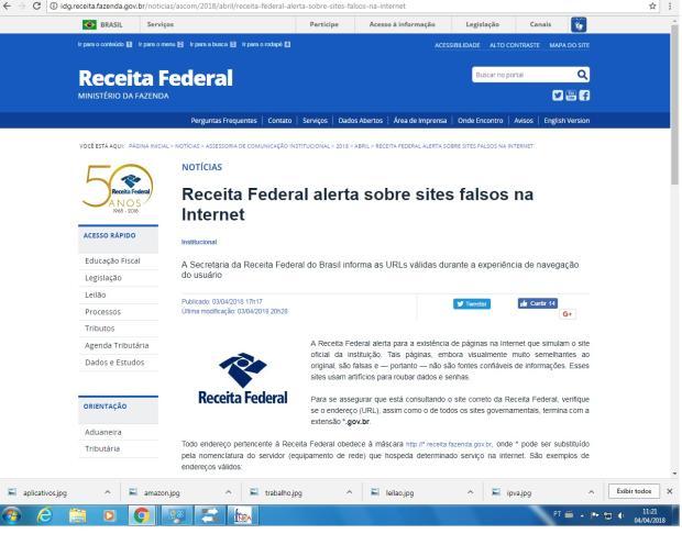 Receita Federal alerta sobre sites falsos na internet; saiba como se proteger /