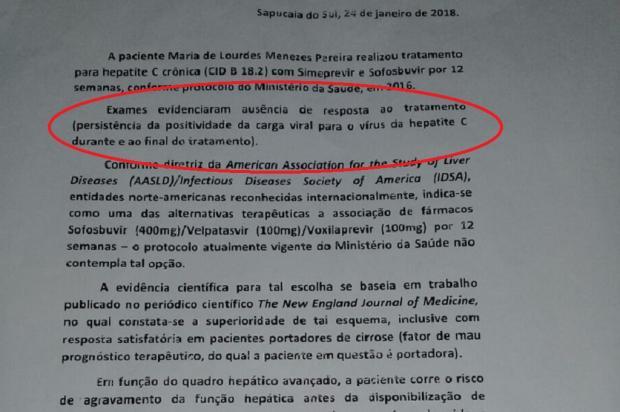 Paciente fica sem medicamentos para tratar Hepatite C, em Sapucaia do Sul Arquivo Pessoal / Leitor/DG/Leitor/DG