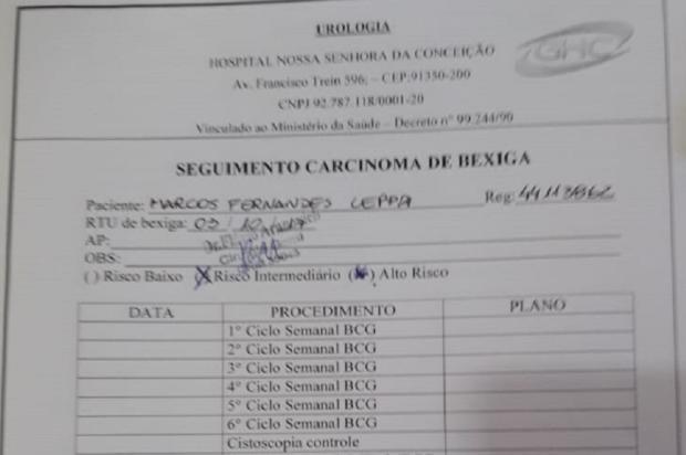 Falta de medicamento no Hospital Conceição, em Porto Alegre, prejudica paciente do Interior Arquivo Pessoal / Leitor/DG/Leitor/DG