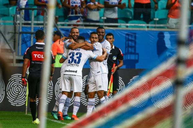 """Cacalo: """"Foi uma vitória sofrida em Salvador"""" Lucas Uebel/Gremio.net"""
