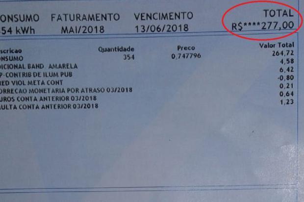 Morador da Restinga leva susto ao receber conta de luz com aumento de 236% Arquivo Pessoal / Leitor/DG/Leitor/DG