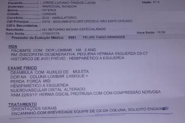 Após mais de um ano esperando, paciente consegue realizar consultas no Hospital da Ulbra, em Canoas Arquivo Pessoal / Leitor/DG/Leitor/DG