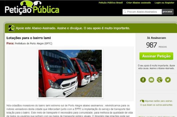 Moradores do Lami organizam abaixo-assinado para pedir linha de lotação, em Porto Alegre Petição Pública / Reprodução/Reprodução