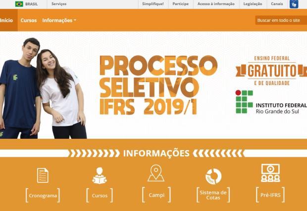 Processo seletivo 2019/1 do IFRS: portal com informações já pode ser acessado /