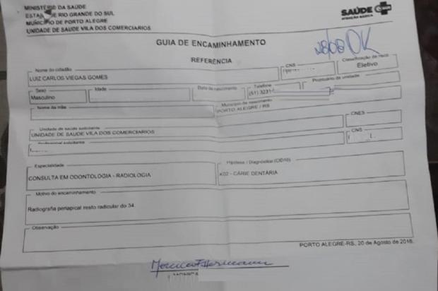 Aparelho estragado atrasa exames odontológicos na zona sul de Porto Alegre Arquivo Pessoal / Leitor/DG/Leitor/DG
