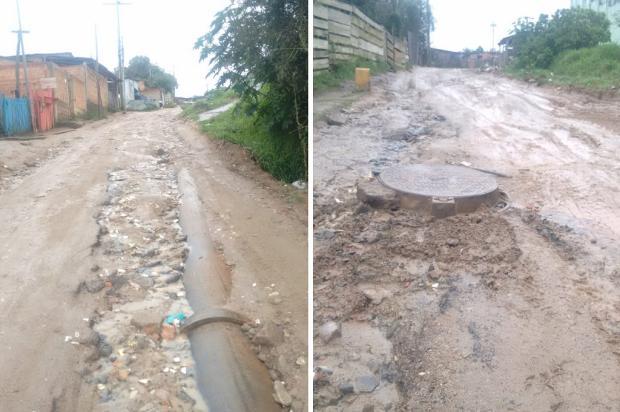 Buracos na via, canos expostos e falta de iluminação viraram rotina em rua da Restinga, na Capital Arquivo Pessoal / Leitor/DG/Leitor/DG