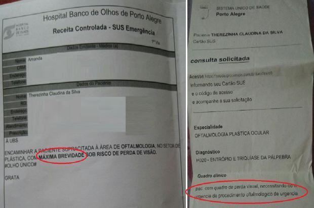 Idosa espera há 86 dias por consulta com oftalmologista, em Porto Alegre Arquivo Pessoal / Leitor/DG/Leitor/DG