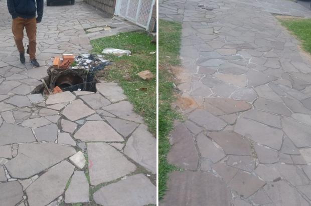 Calçada é consertada na Avenida do Forte, em Porto Alegre, após reportagem do Diário Arquivo Pessoal / Leitor/DG/Leitor/DG