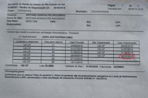 Falta de remédio para doença autoimune prejudica paciente em tratamento, em Cachoeirinha Arquivo Pessoal / Leitor/DG/Leitor/DG
