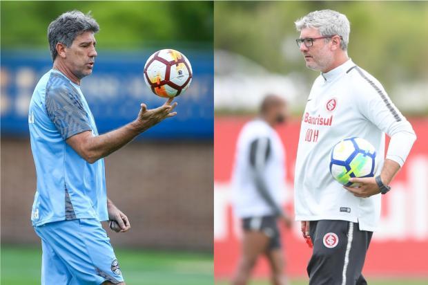 """Luciano Périco: """"As chegadas e partidas"""" Montagem sobre fotos de Lucas Uebel, Grêmio e Ricardo Duarte, Inter / Divulgação/Divulgação"""