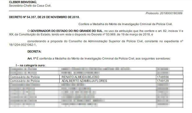 """""""Problema de comunicação"""" faz governo homenagear policiais investigados por propina Diário Oficial do Estado / Reprodução/Reprodução"""