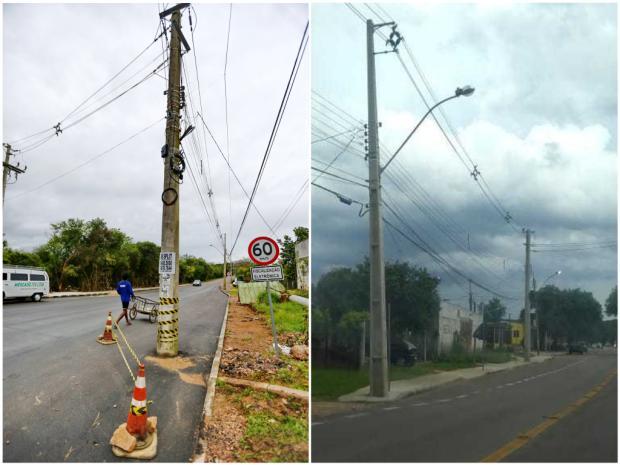 Poste é retirado de trecho de avenida, em Viamão, após reportagem do Diário Robinson Estrásulas/LeitorDG / Agencia RBS/Arquivo Pessoal/Agencia RBS/Arquivo Pessoal
