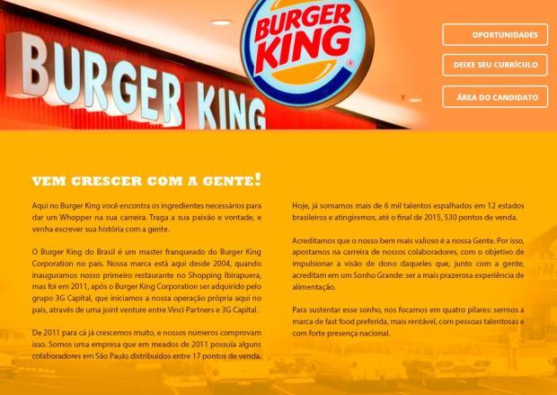Burger King oferece mais de 100 vagas de emprego no Rio Grande do Sul /