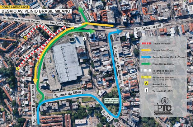 Obras vão alterar o trânsito a partir de segunda, no bairro Passo da Areia, em Porto Alegre Arte: Carlos Roberto Rohde dos Santos / EPTC/EPTC