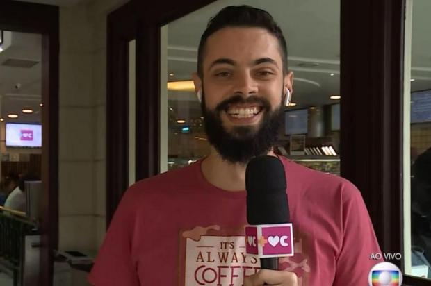 """Com """"batismo"""" de Ana Maria, Cauê Fabiano estreia como repórter do """"Mais Você"""" Reprodução/Globo"""