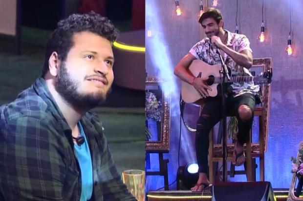 """Embriagado, Victor Hugo agarra Guilherme durante festa no """"BBB 20"""" e diz: """"Deixa eu ser feliz"""" Colagem/Globo/Reprodução"""
