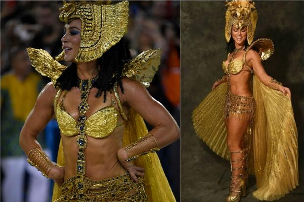 Carnaval 2020: Paolla Oliveira veste-se de Cleópatra para voltar à Sapucaí Montagem sobre fotos de Mauro Pimentel, AFP, e Pino Gomes, Divulgação /