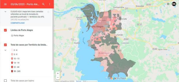 Aumenta número de bairros com casos de coronavírus em Porto Alegre Google My Maps/Reprodução