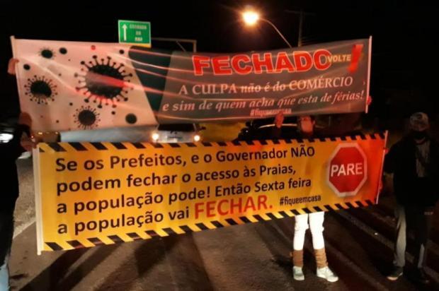 Sob bandeira vermelha, moradores de Osório protestam contra aumento da população no final de semana Brigada Militar/Divulgação