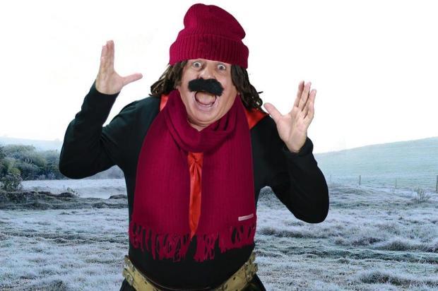 """Guri de Uruguaiana, sobre o frio: """" Ainda bem que eu tenho uma manta bem grossa para me proteger do frio. Uma manta de gordura abdominal"""" Artebiz/Divulgação"""
