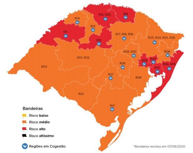 Porto Alegre volta para a bandeira vermelha, e mais sete regiões são marcadas com alto risco Governo do RS / Reprodução/Reprodução
