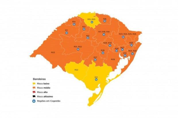 Mapa definitivo confirma três regiões do RS em bandeira amarela Governo do RS/Divulgação