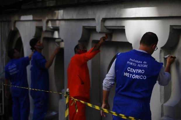 Prefeitura de Porto Alegre realiza testes para a revitalização do Viaduto da Borges Félix Zucco / Agencia RBS/Agencia RBS